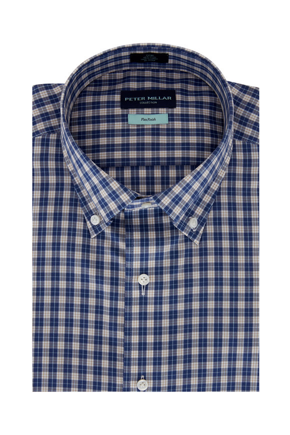 Peter Millar Tides Navy Blue Plaid Sport Shirt