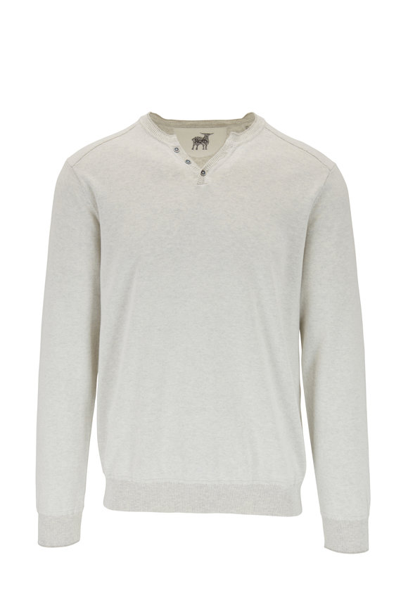 Raffi  Gray Cotton Raglan Sleeve Henley