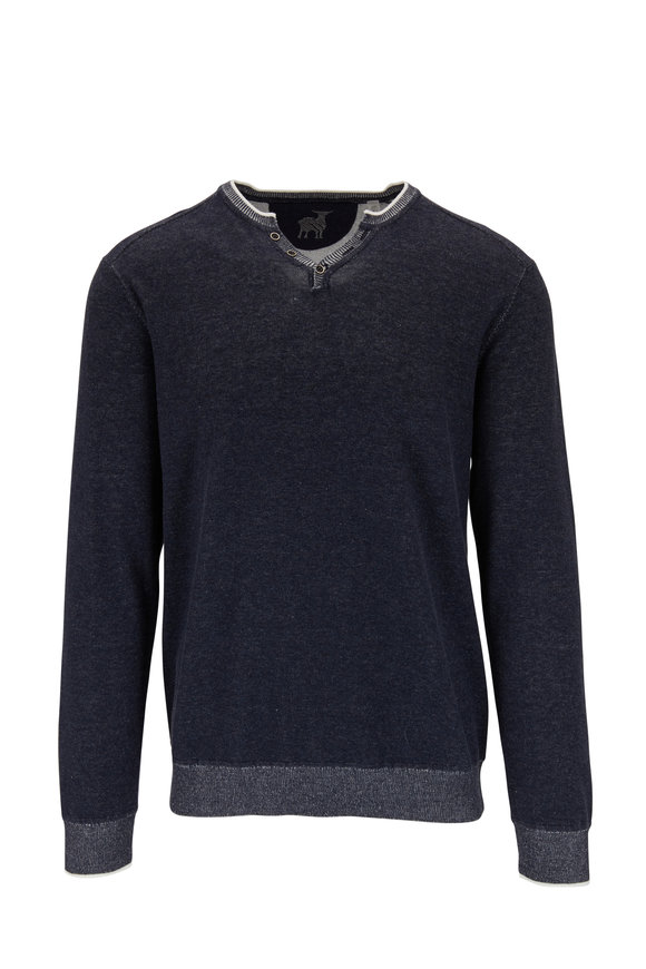 Raffi  Midnight Cotton V-Neck Henley