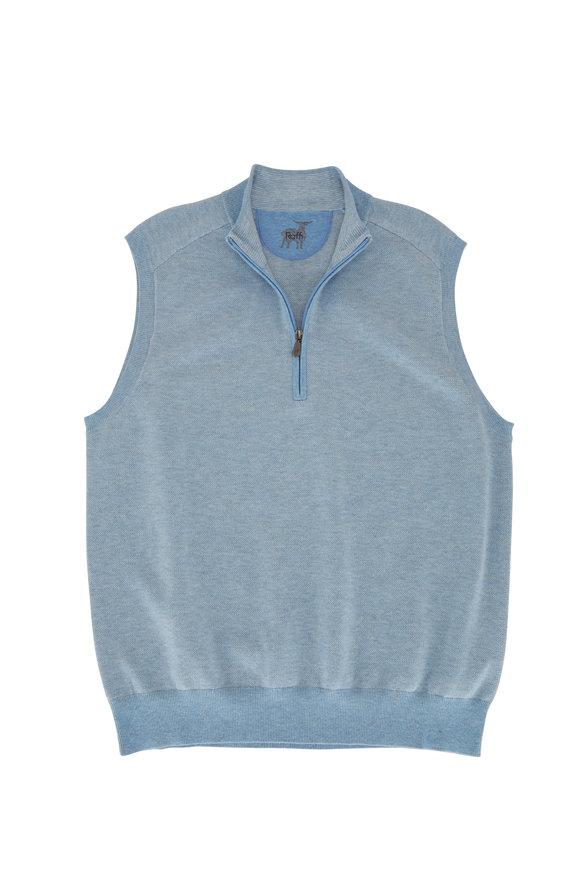Raffi  Lake Blue Birdseye Quarter-Zip Vest