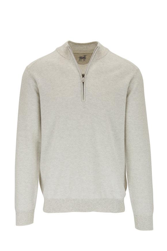Raffi  Gray Birdseye Cotton Quarter-Zip Pullover