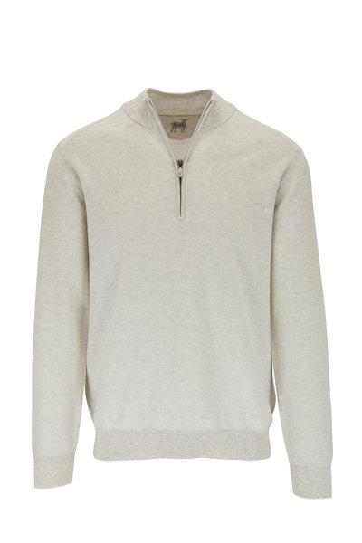 Raffi - Gray Birdseye Cotton Quarter-Zip Pullover