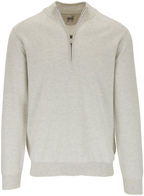 Raffi  Gray Birdseye Cotton Quarter-Zip Pullover