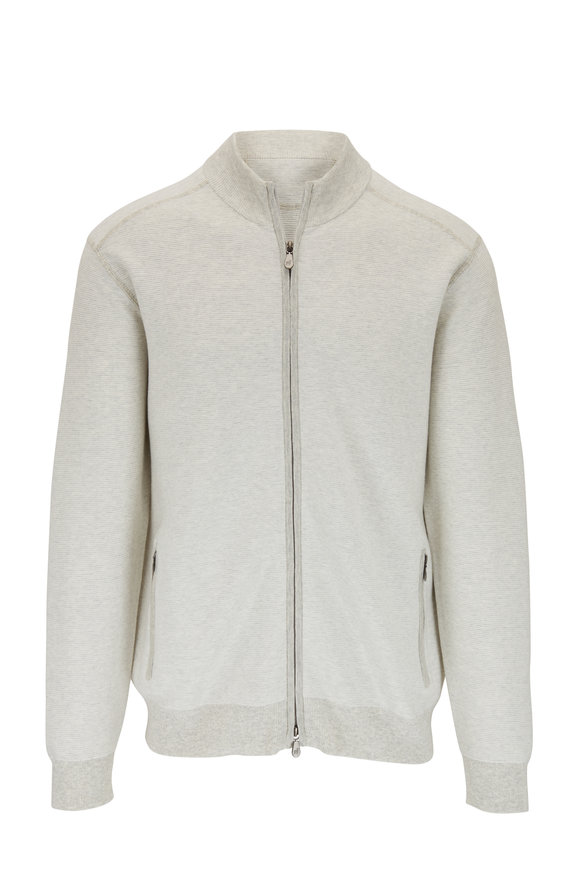 Raffi  Gray Cotton Front Zip Sweater