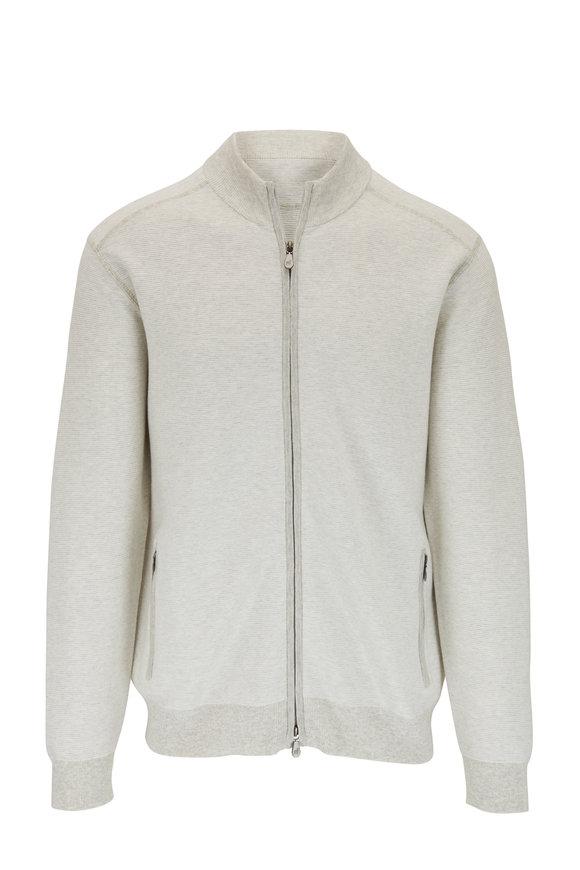 Raffi  Gray Cotton Front Zip Sweater