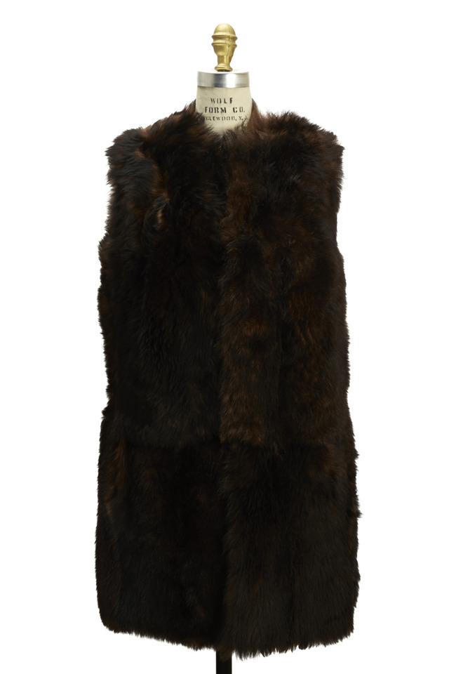 Long Brown Shearling Vest