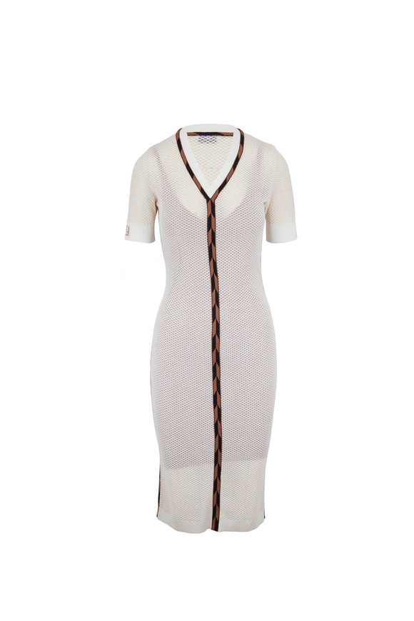 Fendi White Micro Mesh V-Neck Short Sleeve Midi Dress