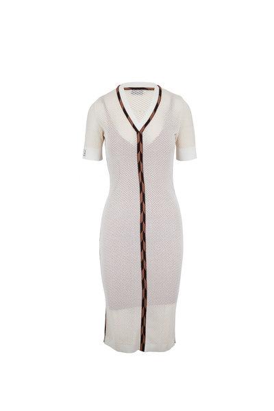 Fendi - White Micro Mesh V-Neck Short Sleeve Midi Dress