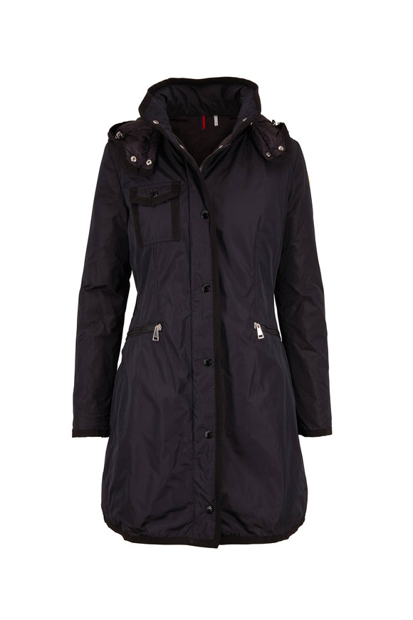 Moncler Black Cinched Waist Trench Coat