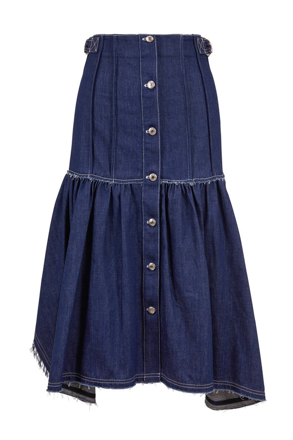 Chloé Denim Blue Front Button Raw Edge Seam Skirt