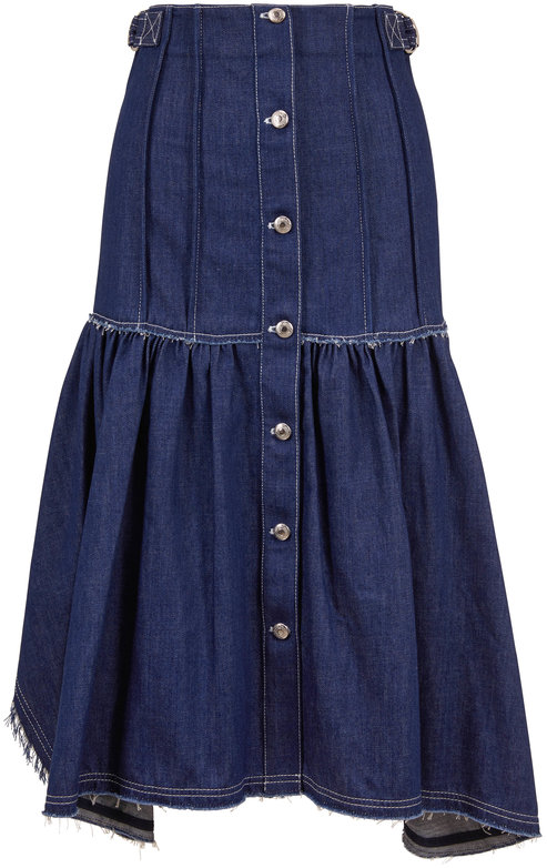 Chloé Denim Blue Front Button Raw Edge Seam Skirt