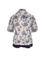 Chloé - Blue Gray Embroidered Silk Organza Blouse
