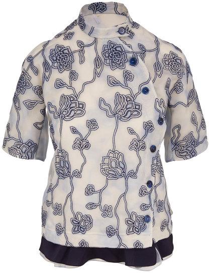 Chloé Blue Gray Embroidered Silk Organza Blouse