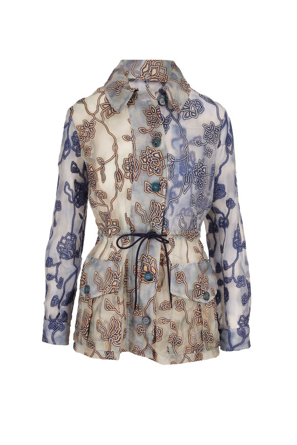 Chloé Gray Blue Silk Embroidered Jacket