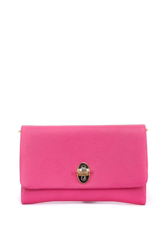 Taormina Hot Pink Leather Flap Front Clutch