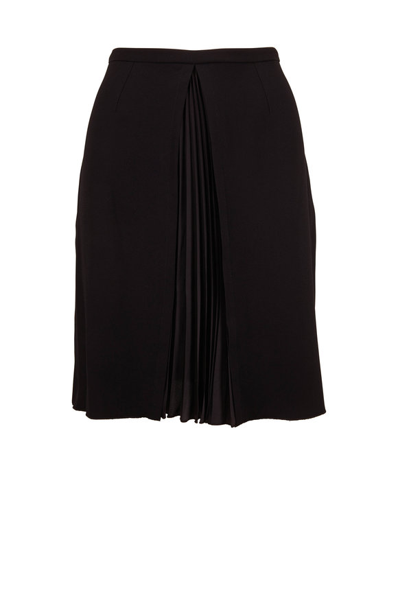Paule Ka Black Crepe Pleated Skirt