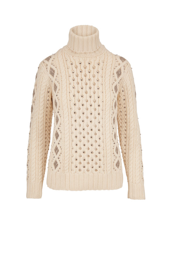 Michael Kors Collection Vanilla Hand Knit Studded Cable Turtleneck