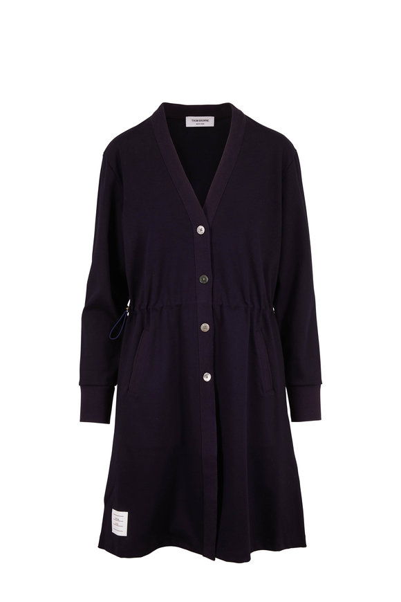 Thom Browne Navy Cotton Drawcord Waist Button Front Cardigan