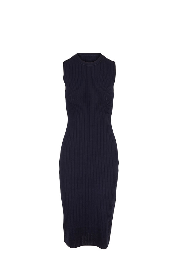 Victoria Beckham Navy Sleeveless Fitted Knit Dress