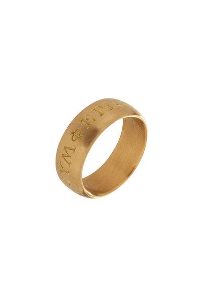Caroline Ellen - 20K Yellow Gold Engraved Wide Ring