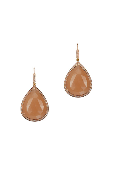 Loren Jewels - Gold Moonstone White Diamond Teardrop Earrings