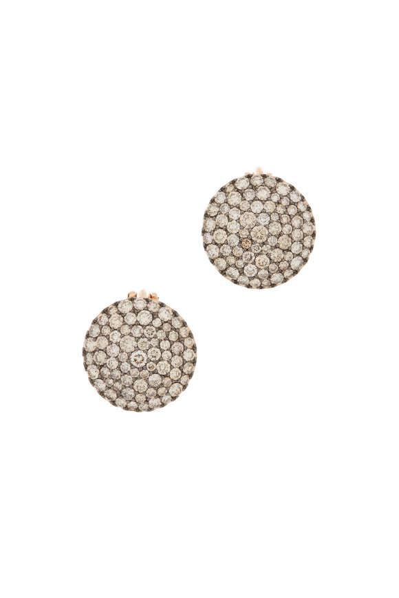 Etho Maria 18K Rose Gold Brown Diamond Disc Earrings