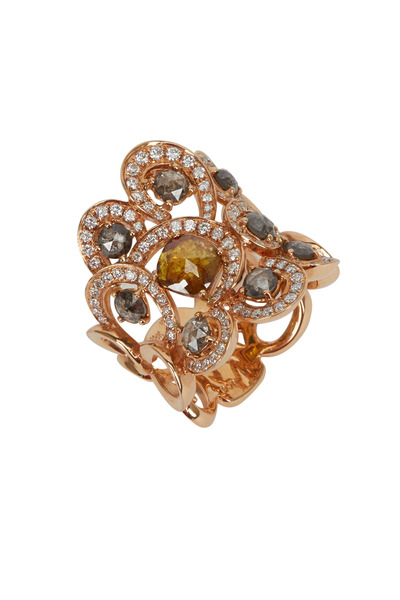 Loren Jewels - Rose Gold Fancy Yellow & White Diamond Ring