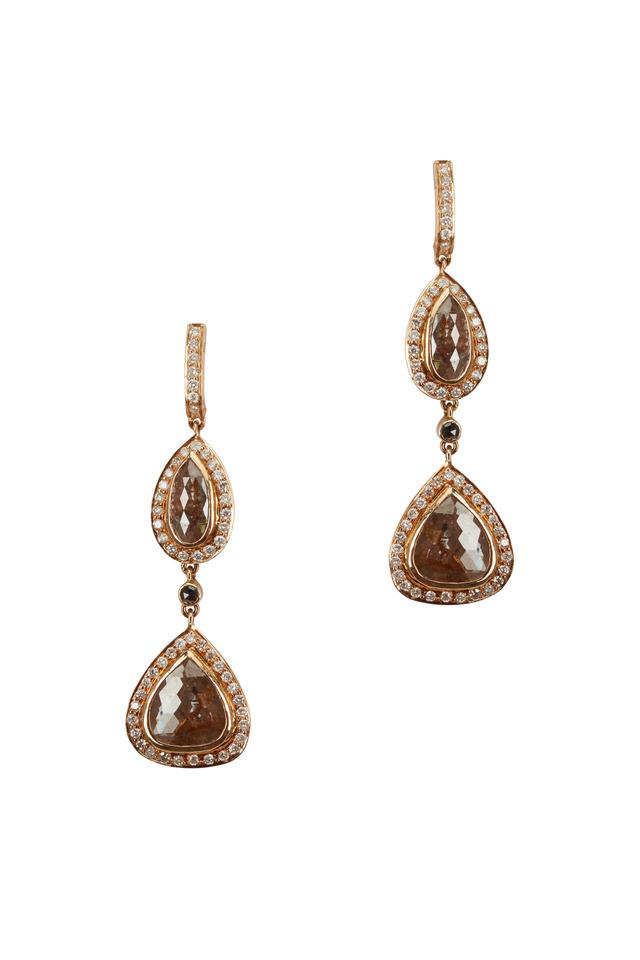 Yellow Gold White & Rough Diamond Dangle Earrings