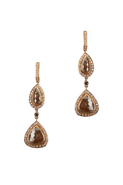 Loren Jewels - Yellow Gold White & Rough Diamond Dangle Earrings