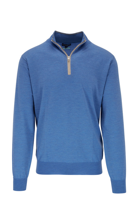 Peter Millar Excursion Blue Wool Quarter-Zip Pullover