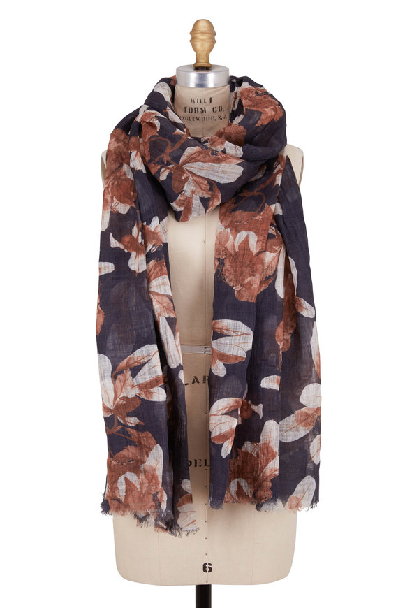 Brunello Cucinelli Gray & Beige Linen Contrast Floral Printed Scarf