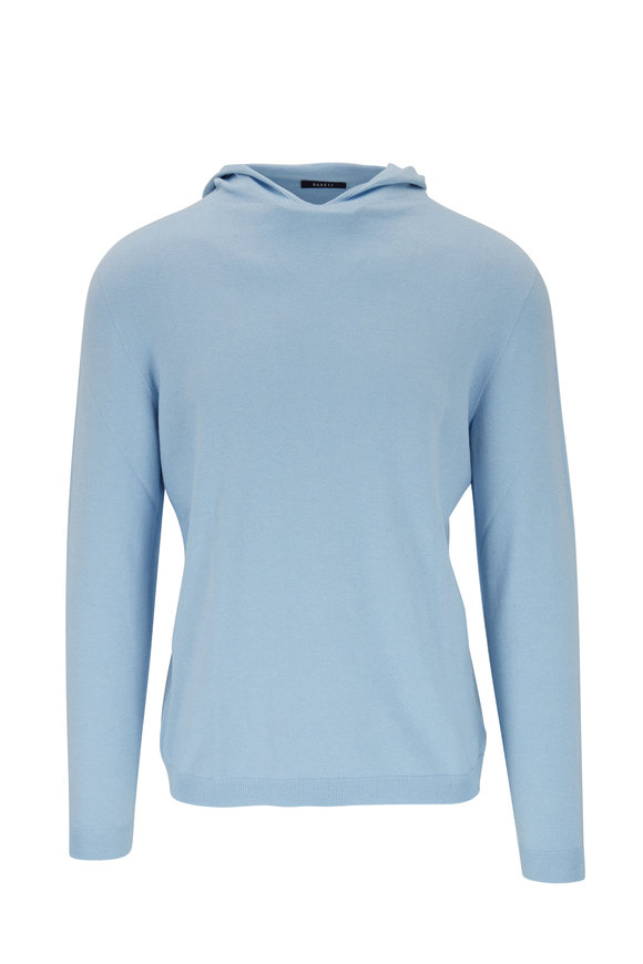04651/ Sky Blue Cotton, Bamboo & Silk Hooded Sweater
