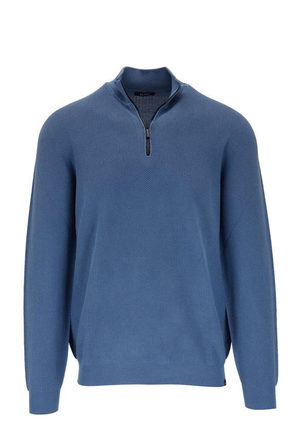 04651/ Deep Blue Cotton Quarter-Zip Pullover