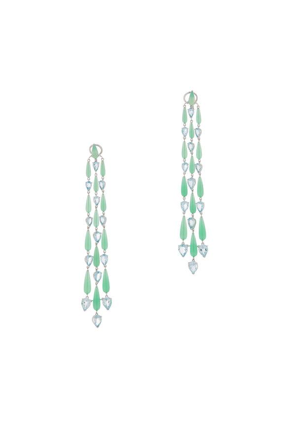 Etho Maria 18K White Gold Aquamarine & Chrysoprase Earrings