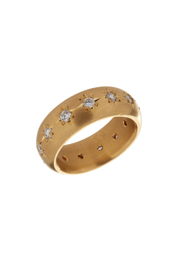 Caroline Ellen 20K Yellow Gold Diamond Star Wide Band