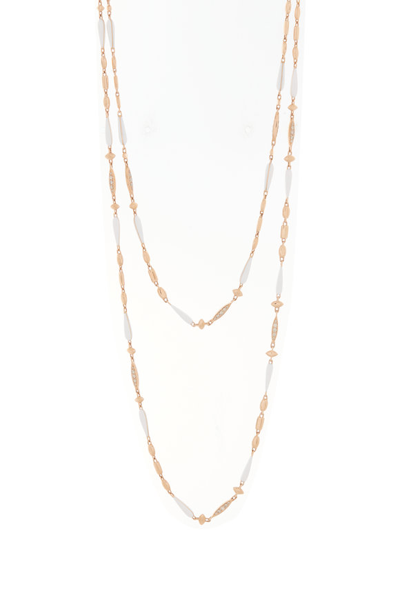 Etho Maria Rose Gold White Ceramic Station Chain Necklace