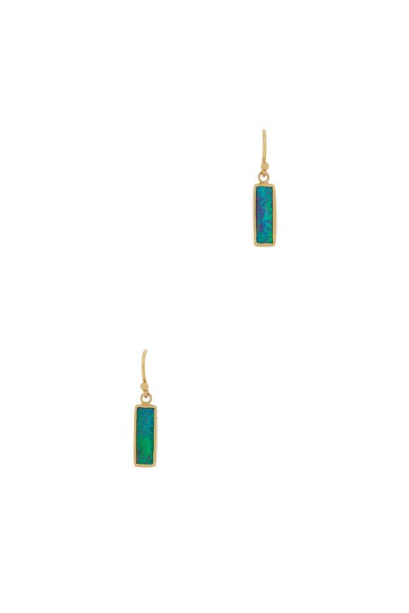 Caroline Ellen Yellow Gold Boulder Opal Dangle Earrings