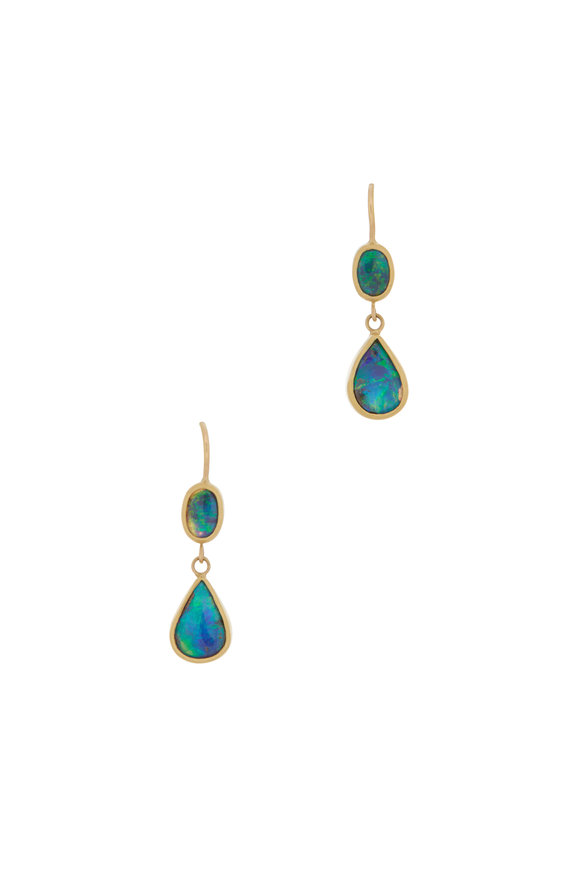 Caroline Ellen Yellow Gold Boulder Opal Double Drop Earrings