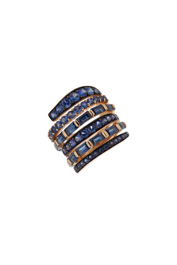Etho Maria 18K Rose Gold Blue Sapphire Twist Ring
