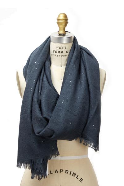 Brunello Cucinelli - Blue Silk Pailette Scarf