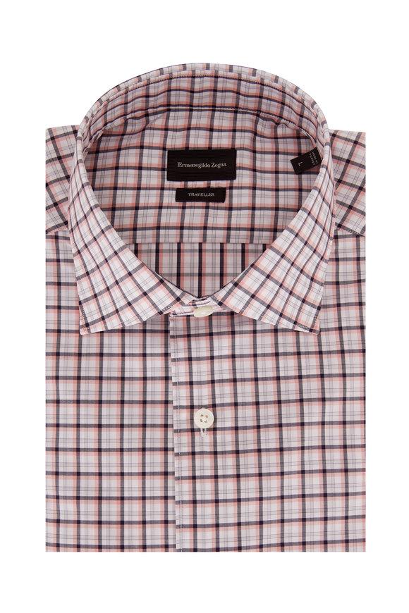 Ermenegildo Zegna Traveler Navy & Pink Check Classic Fit Sport Shirt