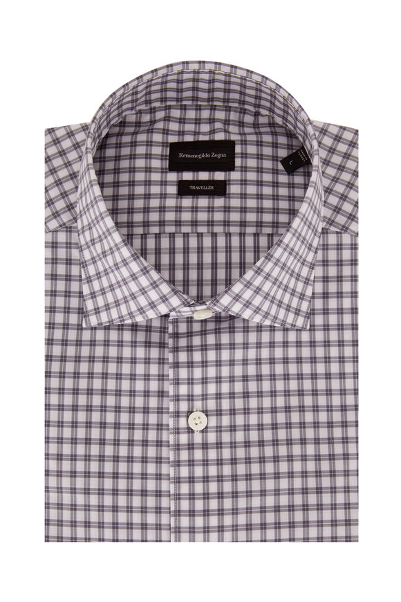 Ermenegildo Zegna Traveller Gray Check Classic Fit Sport Shirt