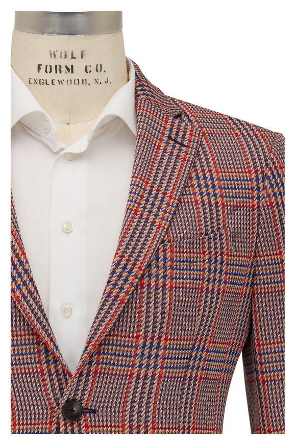 Etro Blue, Red & Gold Houndstooth Sportcoat