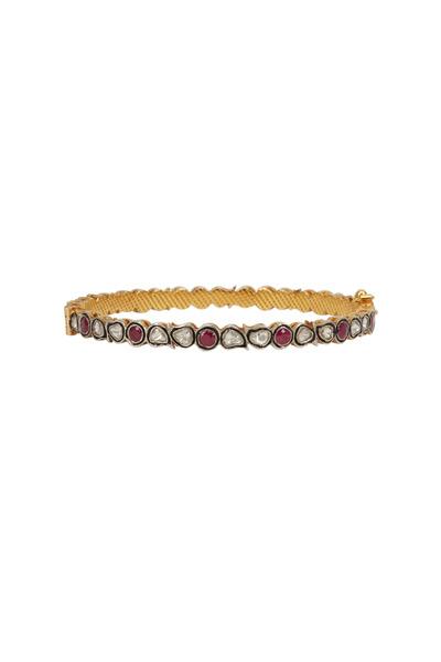 Loren Jewels - Gold & Silver Ruby & Diamond Narrow Bangle