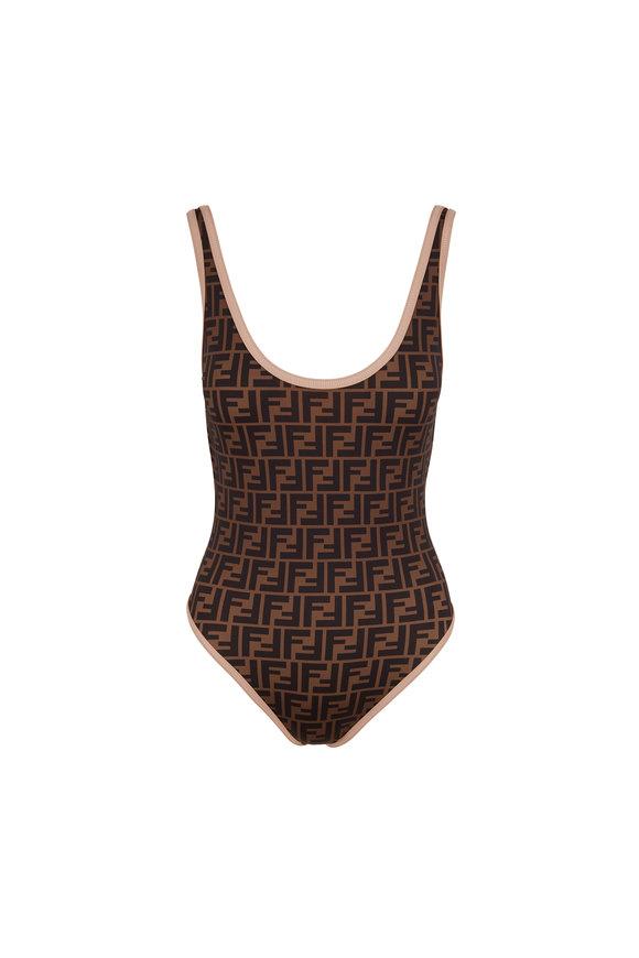 Fendi Fendirama Tobacco Print Bathing Suit