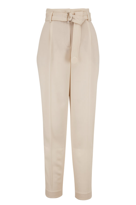 Akris Punto Fred Beige Wool High-Rise Belted Pleat Pant
