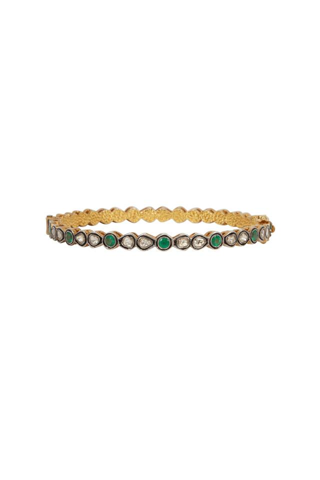 Gold & Silver Emerald & Diamond Narrow Bangle