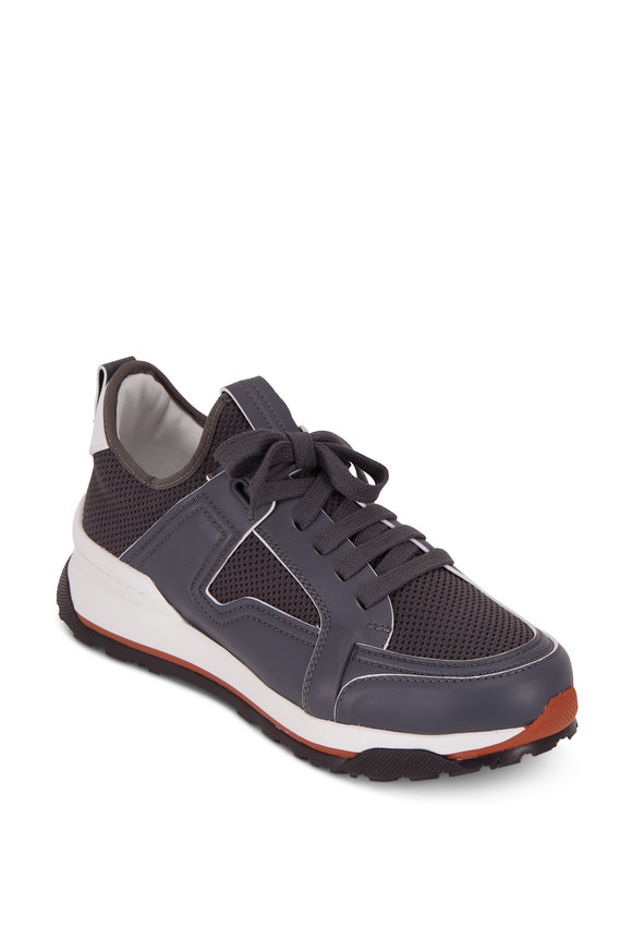 Ermenegildo Zegna Nuova Medium Gray Leather & Mesh Trainer