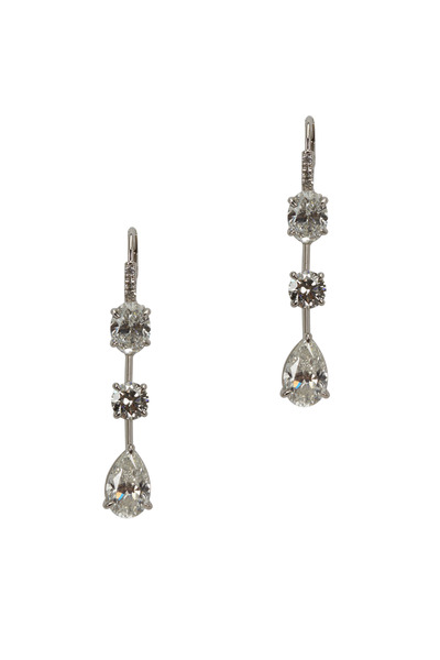 Louis Newman - Platinum White Diamond Dangle Earrings