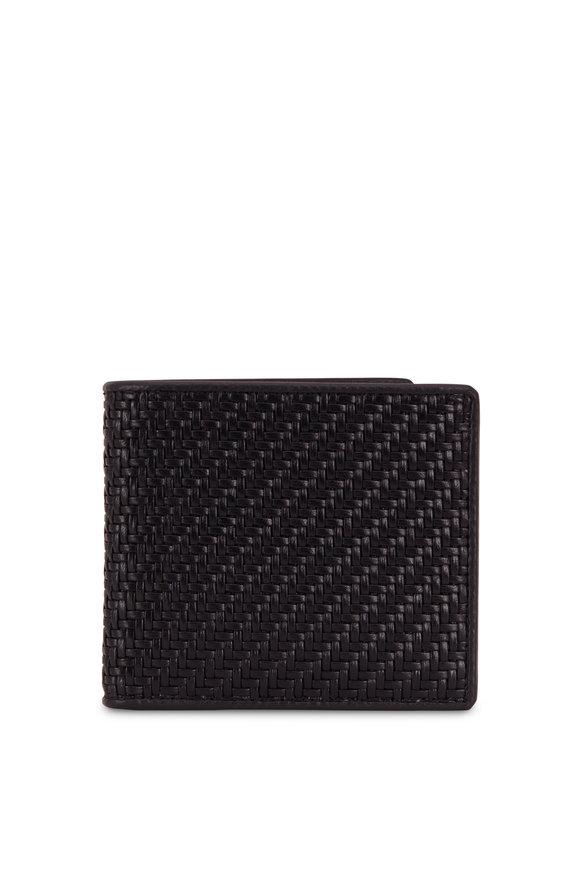 Ermenegildo Zegna Black Woven Leather Fold-Over Wallet